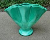 Vintage Green Swirl Opaque Art Glass Fan Vase