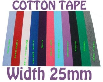 "25MM Herringbone Tape ( 1"" ), Cotton Tape, Cotton Twill Tape, Rainbow Tape, Cotton Ribbon, Trim lot, Wholesale Cotton Tape"