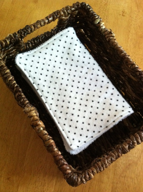 Cloth Unpaper Towels Reusable Flannel Polka Dots Black White Baby Wipes Set of 4