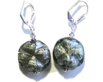 Murano Glass Dark Gray Clover Silver Foil Earrings, Venetian Jewelry, Sterling Silver Leverback Earrings, Italian Jewelry, Clip On Earrings