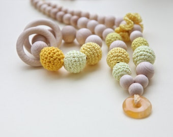 Yellow set of 2. Teething ring toy and nursing necklace with natural gemstone. Bright yellow rattle for baby and mom.