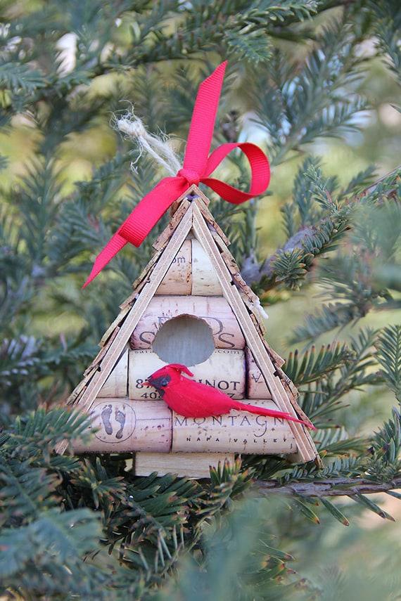 Birdhouse Christmas Tree Ornaments : Birdhouse christmas tree ornament wood and wine by