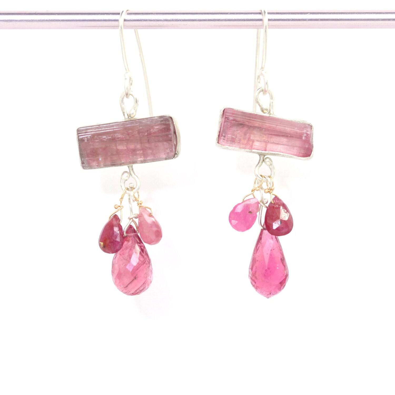 pink tourmaline earrings with pink by ledajewelco