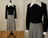 1970's Vintage Black & White Knit and Polyester Dress