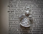 75% off  12 Angel charm Silver - Christmas Winter Guardian Angel   - Ships from US Worldwide - Lead and Nickel Free