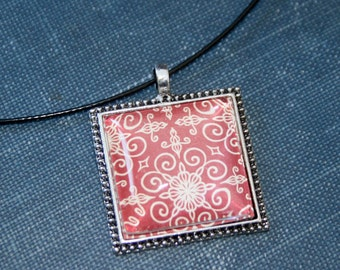 DIY Necklace making KITS Square beaded edged 1 inch Pendant  - Includes 6 Pendants, 6 glass and 6 Necklaces - Teen Kids Craft Christmas