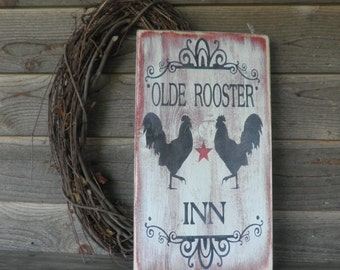 Rooster sign, wall hanging,primitive rooster sign, Old Rooster, primitive home decor, roosters, chicken, wood sign, vintage looking sign