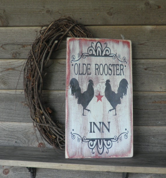 Farmhouse Kitchen Hand Painted Wood Sign Rooster Kitchen