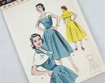 Vintage 40s / 50s Dress with Capelet Sewing Pattern, Butterick, 6906