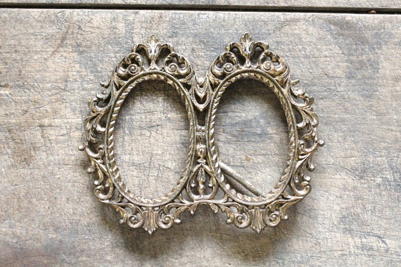 Vintage Metal Oval Frame Ornate Double Frame By Forgottenplum