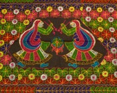 Devi Indian Wall Hanging Vintage Embroidered Textile from India Women in Sari Ritual Dance Tablecloth Shawl Boho Hippie  FREE USA SHIPPING