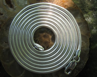 """30"""" Sterling Silver Snake Chain - Unseamed Snake Chain - 2mm"""