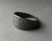 Fine Jewelry Silver Ring Leo Constellation With Colored Diamonds In Oxidized Sterling