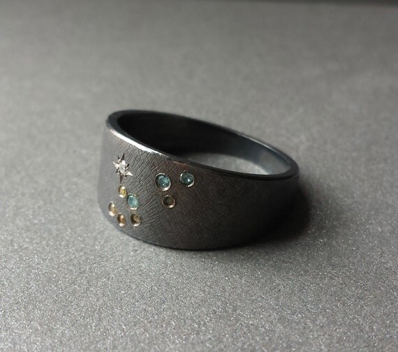 Ring Constellation Jewelry Ring Leo Constellation Ring Pave Set With Colored Diamonds in Oxidized Sterling Silver Fine Jewelry Rings