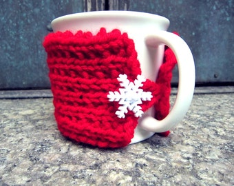 Snowflake Accessory Snow Flake Mug Warmer Knit Coffee Cup Cozy Knitted Cup Sweater Handmade Winter Knits Festive Gifts Stocking Stuffer
