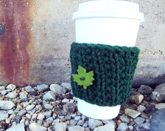 Starbucks Cup Cozy Knitted Mug Warmer Coffee Green Leaf Autumn Button Tea Hot Cocoa Sleeve Cover Knit Crochet Disposable Cup