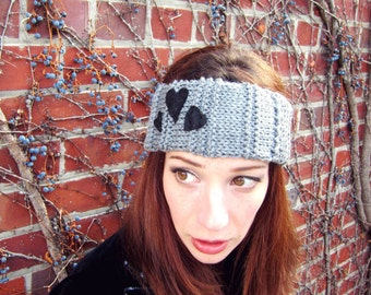 Valentines Day Gift Idea Heart Ear Warmer Knit Headband Romantic Gifts for Women Gray Hair Accessories Handmade Grey Knits