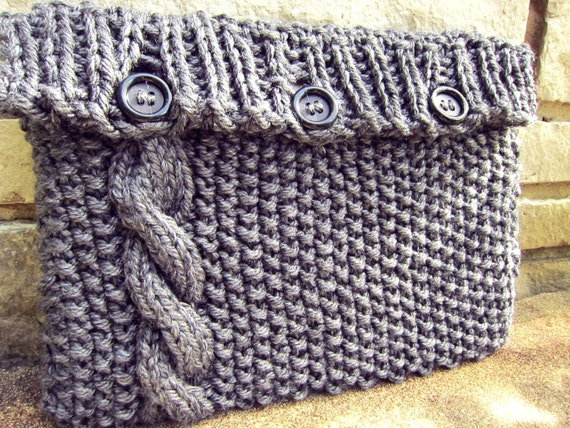 Laptop Bag Knitting Pattern : Items similar to Knitted Laptop Sleeve Computer Cozy Electronic Case Gray Gre...