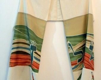 Pettite Tallit (Green Shalom 17157) 66.87 in x 15.75 in (169.5cm x 40cm) Raw silk and hand painted Habotai silk