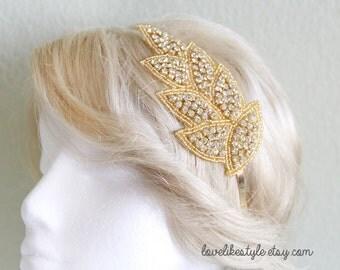 Gold Leaf Crystal Rhinestone on Gold  Metal Headband // Bridal Headband , Rhinestone Headband , Bridesmaids Headband