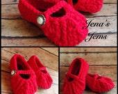 Mary Jane Crochet Baby Booties