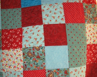 Ruby rose and aqua quilt