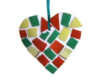 Orange Green and Yellow Mosaic Heart