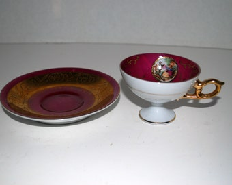 Demitasse set Royal Vienna courting couple  demitasse set beehive mark dark pink and gold china