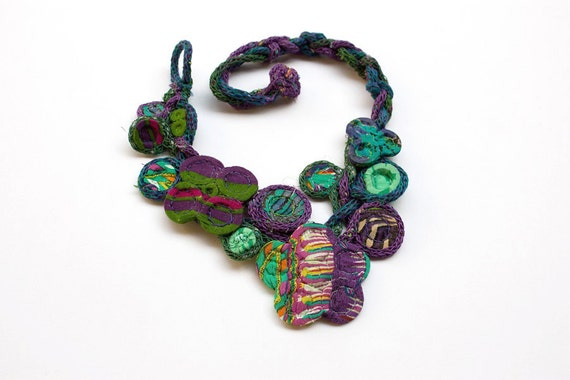 Handmade knitted necklace with bamboo and textile beads, purple blue green, OOAK