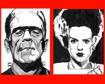 Set of 2 drawings Bride of Frankenstein  and the Monster ink 9x12