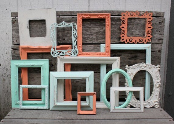 Set of 14 Open Frame Collection - Open Frame Gallery in Coral, Mint, and Antique White - Upcycled Frames - Ornate Frames - Picture Frame Set