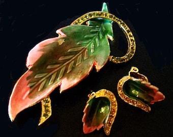 Brooch Earring Set Peach & Lime Green Rhinestones Enamel Leaf Design Vintage