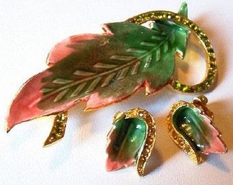 Spring Brooch Earring Set Peach Lime Green Rhinestones Enamel Leaves Vintage