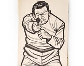 FREE SHIPPING Shooting Target, Police, Man with a Gun, New Old Stock, NOS