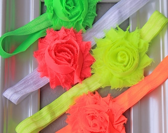 Baby Girl Neon Color Headband Set - Summer Headbands for Babies, Toddlers and Little Girls in Neon Green, Pink, Yellow & Orange