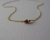 Ruby Necklace ~ JULY Birthstone, 14k gold filled, Sterling, Layering Necklace, Genuine Ruby Gemstone, Red Jewelry