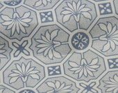 Vintage FULL ROLL Shelf Drawer Liner Paper blue and white Art Deco Pattern Lily Geometric Tile look