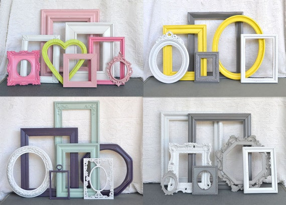 Custom Ornate Vintage Picture Frame set of 7..You Pick Your Own COLORS Upcycled Ornate Frames with GLASS..Modern Wall Wedding
