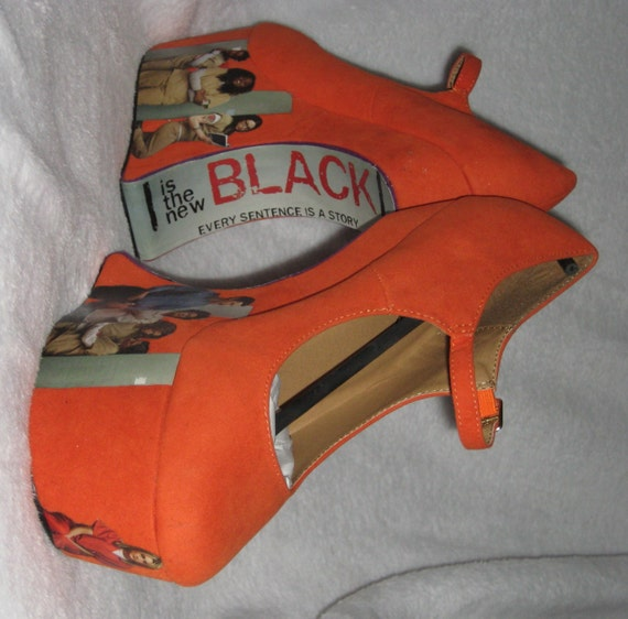 MOO-ving SALE! Orange is the New Black - Heel-less Platform Mary Jane Wedges Size 9