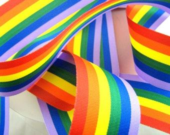 5m x Rainbow Pride Grosgrain Ribbon 10mm / 25mm / 35mm