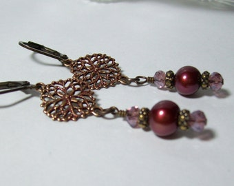 Cranberry Pearl Earrings. Freshwater Pearls and Brass. Patina Earrings. Brass Filigree. Vintage Style.