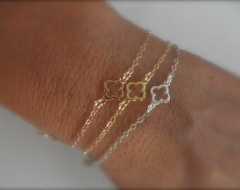Tiny clover chain  bracelet