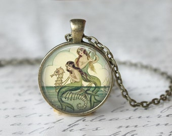 Mermaid Painting Necklace, Art Pendant, Fantasy Jewelry