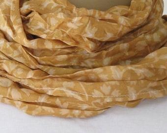 SALE Brown Handprinted Silk Scarf