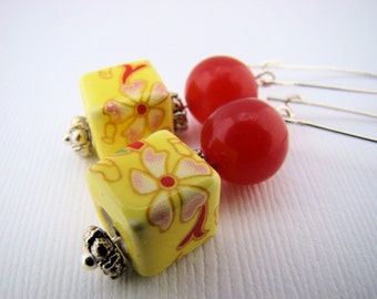 Earrings, Dangle,Red and Yellow