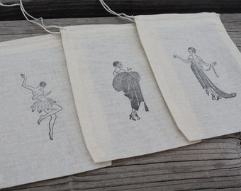 Set of 10 Hand stamped Roaring 20s Flapper Bag Muslin Party Favor Bags Eco Friendly 100% organic