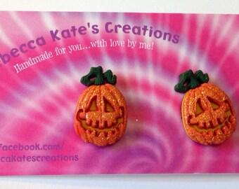 Pumpkin Post Earrings/Halloween Earrings/Nickel Free