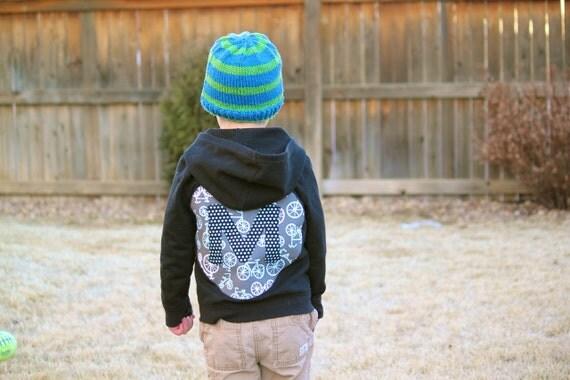 Monogrammed Hooded sweatshirt for toddler or baby Boy- bicycle initial hoodie Michael Miller fabric