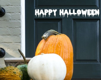 """Happy Halloween for Front Door...Vinyl Wall Decal....Your choice of color"""""""