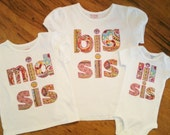 Set of 3 Big Sister/ Little Sister or Brother shirts
